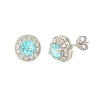 Blue Topaz Gemstone Stud Earrings 925 Sterling Silver Round Gem CZ Accent
