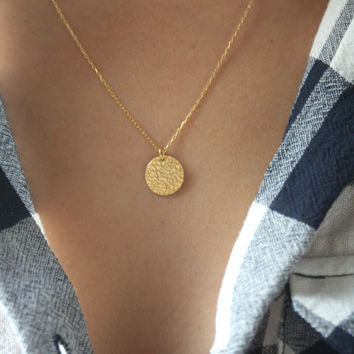 necklace pendant circle hammered disc il gold disk listing