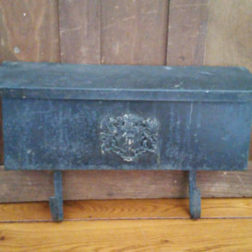 Vintage Black Mid Century Wall Mount Hanging Mail Box with Lion Crest Accent Newspaper Holder