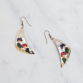 Vintage 1980s Brass + Cloisonne Earrings