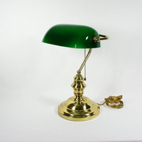 RESERVED FOR CHLOE Vintage Portable Brass Bankers Desk Lamp Underwriters Laboratories