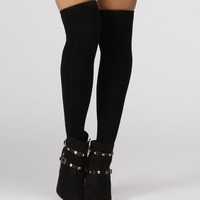 Sale-black Two-tone Cable Knit Over The Knee Socks