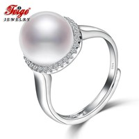 FEIGE 10-11mm Freshwater Pearl Rings for Women Bride Jewelry 925 Sterling Silver Ring Wedding Engagement Jewelry Fine Jewelry