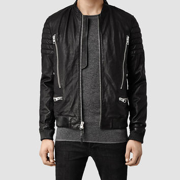 Mens Sanderson Leather Bomber Jacket (Black) | ALLSAINTS.com