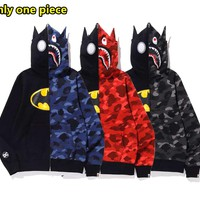 Autumn and winter fashion new stitching camouflage zipper long-sleeved sweater