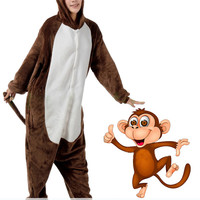 New Super Active Brown Monkey Adult Animal Kigurumi Onesuit KK287