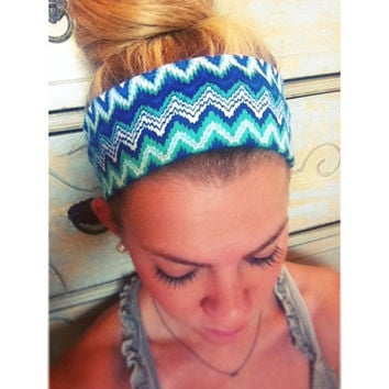 Cobalt // Mint Zig Zag - Fabric Headband