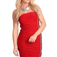 Red Strapless Chain Link Ruched Sexy Mini Dress
