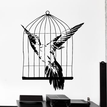 Wall Vinyl Decal Birds In Cage Freedom Cool Home Interior Decor Unique Gift z4145