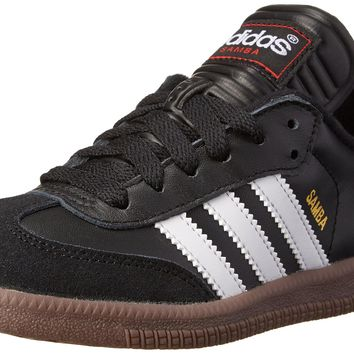 adidas Samba Classic Leather Soccer Shoe (Toddler/Little Kid/Big Kid) Black/ White Lit
