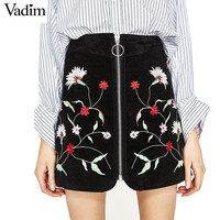 Women sweet flower embroidery suede skirts zipper faldas mujer European streetwear fashion black mini skirts BSQ522