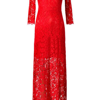Red Split Front Half Sleeves Long Dress