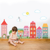 Large Girl's Dollhouse Town Wall Decals, Removable Eco-Friendly Peel and Stick Fabric Wall Stickers