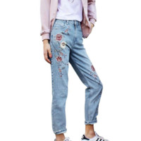Women's Fashion Denim Flower Embroidery High Waist Jeans Woman Femme Skinny Pants Slim Women Jeans Floral Embroidered Jeans