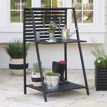 Modern Potting Bench Garden Table Outdoor Bakers Rack Shelving Unit