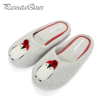 Cotton Cute Penguin Animal Pattern Home Slippers Women Indoor Shoes For Bedroom House