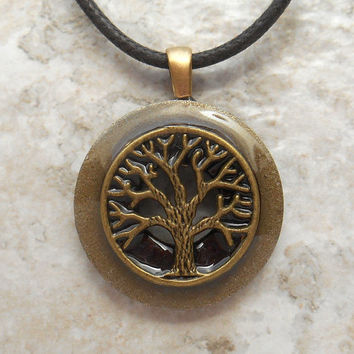 tree of life necklace: rusty - mens jewelry - fathers day - boyfriend gift - celtic jewelry - mens necklace - nature necklace - unique gift
