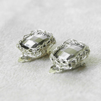 Silver CLIP ON Earrings with a Smoky Gray Swarovski Crystal , Bridal Jewelry