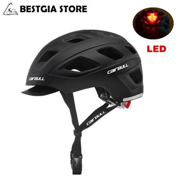 CAIRBUL LED Cycling Helmet Urban Leisure Bike Safety Helmet With Light Racing Road Bicycle Removable Visor Helmet Casco Ciclismo