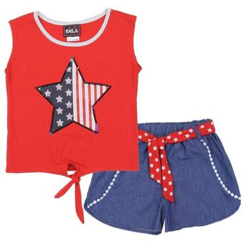 Stars & Stripes Girls Chambray 2PC Short Set. Red White & Blue