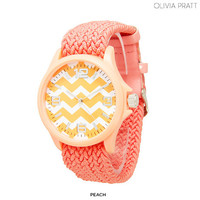 Women's Chevron-Print Watch with Threaded Band - Assorted Colors