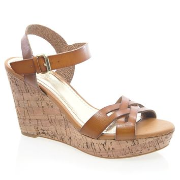 Martha02 Black By Bamboo, Strappy Buckle Ankle Strap Open Toe Cork Platform Wedge Sandal Heel