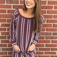 Have It All Striped Dress- Burgundy