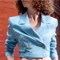 The new hot - selling crop - button diagonal collar suit  TOP