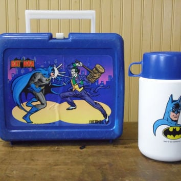 FREE SHIPPING - Batman Lunch Box/Batman Thermos/Vintage Lunch Box/ 1980's Lunch Box/1982 Batman Lunch Box/Batman and Joker