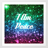 Peace Affirmation Galaxy Sparkle Stars Art Print by Space Universe GalaxyDreams