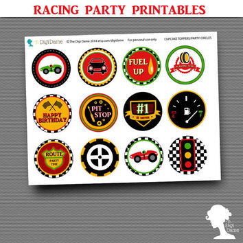 Party Printable Military Car Racing Speedway Red, Yellow & Green Cupcake Toppers