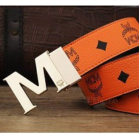 MCM Woman Fashion Smooth Buckle Belt Leather Belt H-A-GFPDPF Orange I