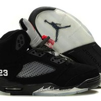 New Nike Air Jordan 5 Retro Kids Shoes Black White Red