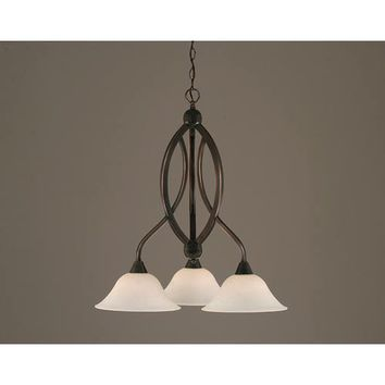 Toltec Lighting 263-BC-511 Bow Black Copper Downlight Three-Light Chandelier with 10-Inch Spider Web Glass Shade