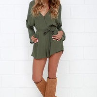 Sheer Your Secrets Olive Green Romper