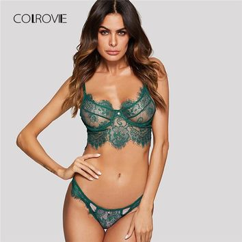 4c240e59f9 COLROVIE Green Wireless Eyelash Lace Floral Lingerie Set 2018 Ne. Gender   Women Item Type  Bra ...