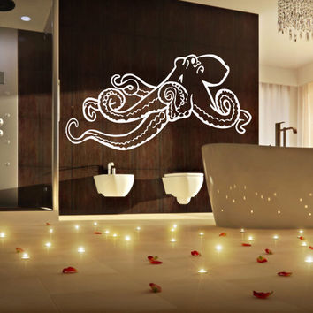 Wall decal decor decals sticker art design vinyl octopus clever tentacles fish jellyfish deep sea ocean animals bedroom  (m1123)