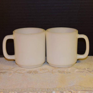Glasbake White Milk Glass Coffee Cups Vintage Pair of Milk Glass Mugs D shaped Handle Retro Hot Tea Cups Set of 2 Farmhouse Kitchen