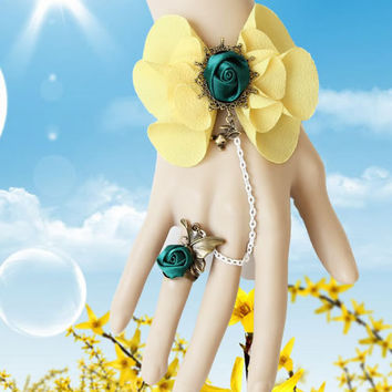 Yellow Flower bracelet with Finger Chain