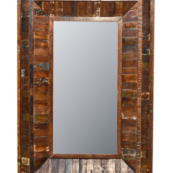 """Rustic Reclaimed Rectangle Wooden Mirror 36"""""""