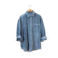 Blue Corduroy Shirt 90s Oversized Grunge Long Sleeve Button Up CHUNKY RIBBED Jacket Slouchy Top 1990s Work Shirt Boho Womens Medium Large