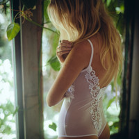 Lace low back white mesh body suit