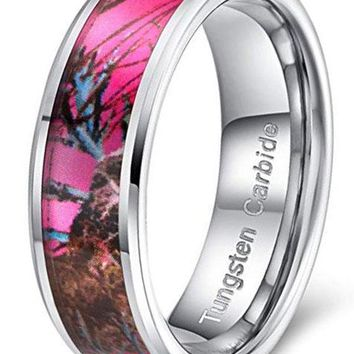 CERTIFIED 8mm Tungsten Carbide Ring Pink Camouflage Hunting Camo Band