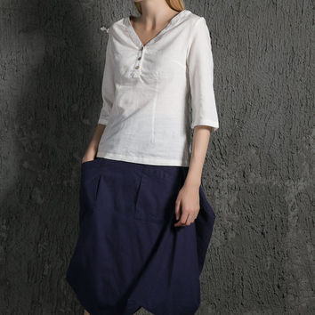 White short Sleeve Linen T-Shirt C632