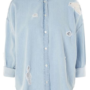 MOTO Ripped Denim Shirt | Topshop
