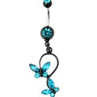 Morbid Metals 14G Turquoise Butterfly Curved Barbell