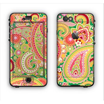 The Vibrant Green and Pink Paisley Pattern Apple iPhone 6 LifeProof Nuud Case Skin Set