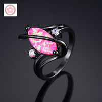 Hot Sale Black Gold Filled Multicolor Opal White Zircon Fashion Jewelry For Women Cocktail Ring