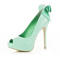 light green peep toe bow shoes - heels - shoes / boots - women - River Island