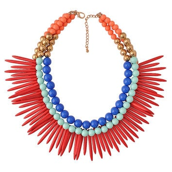 Fashion Beads Clusters Necklace Colorful Jewelry Punk Stylish Necklace Triple Jewelry